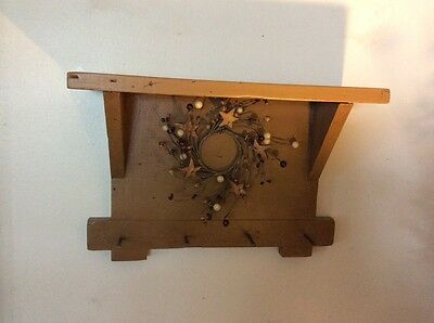 Vintage Primitive Small Handmade Wooden Wall Shelf - Mustard - Old Nail Pegs
