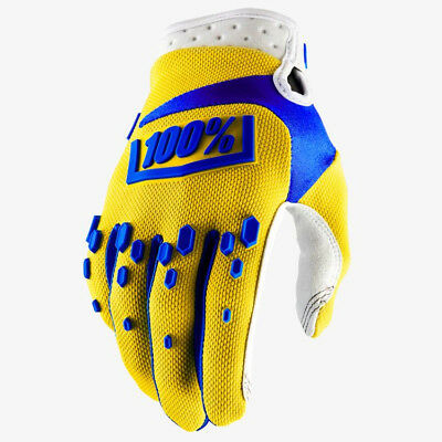 2018 YOUTH 100% AIRMATIC MOTOCROSS MX GLOVES YELLOW / BLUE mtb kids quad bike
