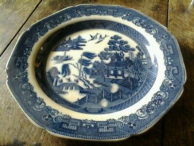 Vintage willow pattern  octagonal plate