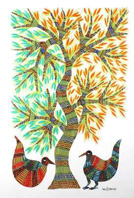 Wall Hanging Gond Painting (Peacock Pair) Size :- 14/11 Inch