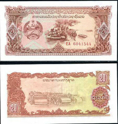 Lao Laos 20 Kip Nd 1979 P 28 Unc Lot 10 Pcs