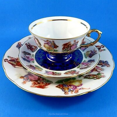 Victorian Scenic and Cobalt J W K Bavaria Germany Tea Cup, Saucer and Plate Trio