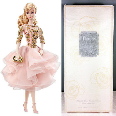 2017 Blush & Gold Cocktail Dress Barbie Doll - BFMC Gold Label Silkstone - NRFB
