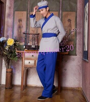 Chinese Style Mens Ancient Factotum Servant Clothing Costume Hanfu Stage Dresses