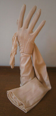 VINTAGE 1960s ELBOW LENGTH NUDE STRETCH NYLON GLOVES PEARL BUTTON FASTENING