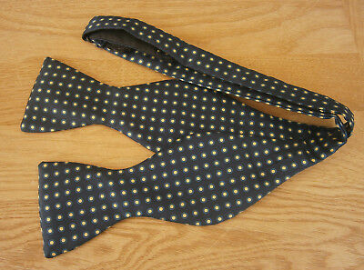 Vintage Classic Navy Blue & Cream Spot Silk Self Tie Bow Tie  Made In England