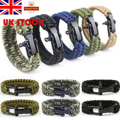 UK Men Outdoor Multi Tool Survival Buckle Rope Paracord Hiking Camping Bracelets