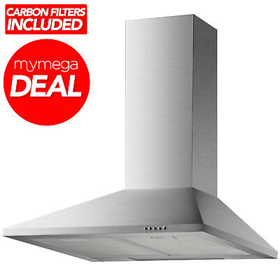 Econolux REF28368 60cm Stainless Steel Chimney Cooker Hood + Carbon Filters