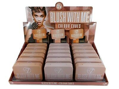 18 x W7 W7 BLUSH WITH ME COLOUR CUBES Powder Blusher DISPLAY Joblots Wholesale