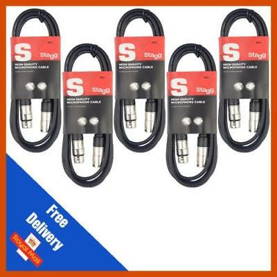 5 x 1m Stagg Microphone Cable Male to Female Balanced XLR Mic Audio Lead
