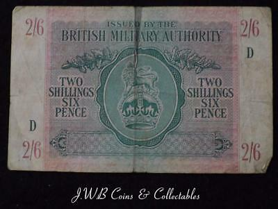 British Military Authority 2/6 Two Shillings Six Pence / Halfcrown Banknote