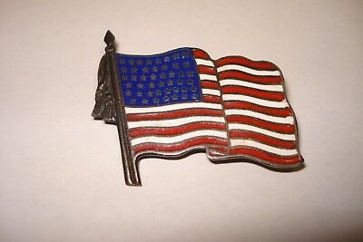 Antique 45 Star Sterling Silver .925 and Enamel USA American Flag Lapel Pin