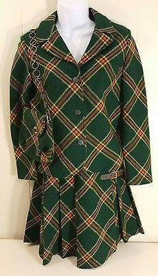 Four Corners Kilt Blazer Purse Green Plaid Traditional Vintage Girls 7 8 9 10