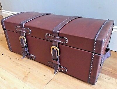 19th Century Antique LEATHER CHEST TRUNK Studded DOME TOP Georgian TAN BROWN
