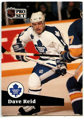 Dave Reid Maple Leafs Pro Set Prototype Preview 1991-2 Ice Hockey Card (C533)