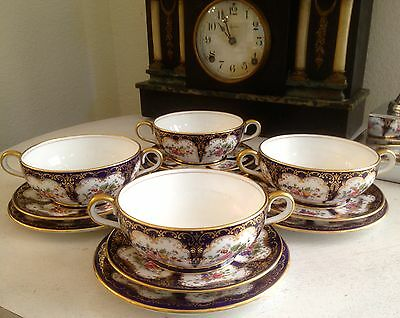 ANTIQUE JOHN AYNSLEY TRIO CREAM SOUP, SAUCER, AND BREAD BUTTER PLATE 4 Sets