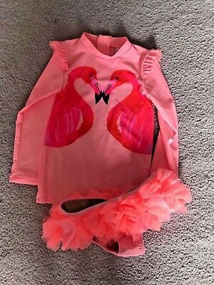 Shade Critters Girl's Flamingo A GO GO 2 Piece Rash guard Set Size 4/5 NEW
