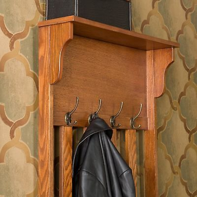 Long Hall Tree Coat Rack Storage Bench Wooden Entryway Stand Jacket Hats Shoes