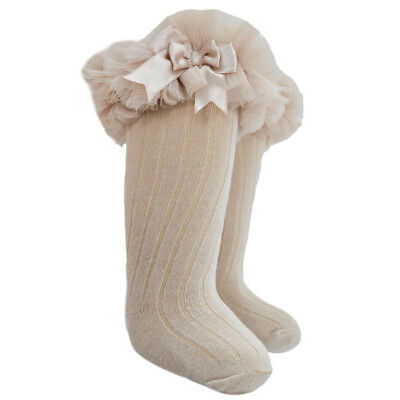 Girls Beige Romany Frilly Knee Socks Tutu style With Satin Bows by Soft Touch