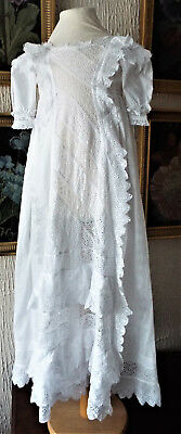 Antique Baby Christening Gown/embroidered With Lace