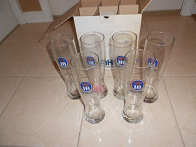 Lot Of 6 Hb Hofbraubaus Munchen Tall Beer Glass Beer Stein 0.5 Liter