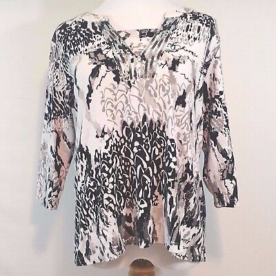 Christopher & Banks Women's Top Size​ XL 3/4 Sleeve Black White Embellished