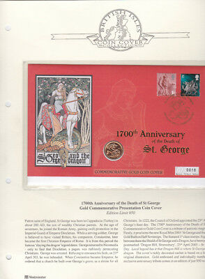 GB 1700th Anniversary Death St. George Gold Commemorative Coin & stamp Cover