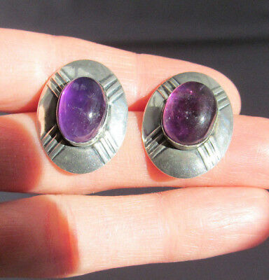 3D Vintage Old Pawn Sterling Oval Amethyst Cabochon Concho Stud Pierced Earrings