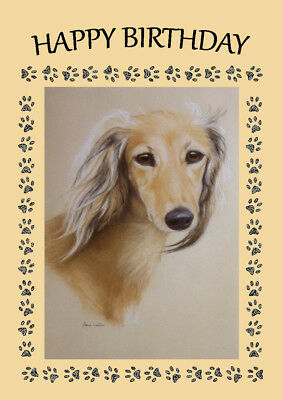 Saluki Head Study Dog Birthday Greetings Note Card