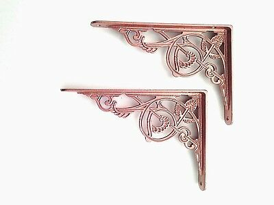 Pair of Cast Iron Victorian Antique Wall Copper Colour Shelf Brackets Free Post
