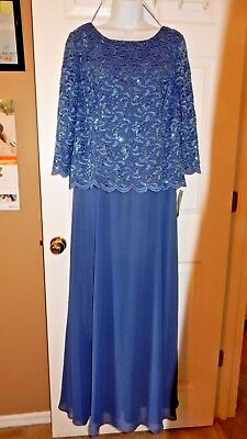 "NWT Women's ""Alex Evenings"" Size 18 Wedgewood Sequined Lace Gown"