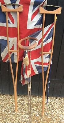 Pair Of Vintage Wooden Crutches & Leg Splint Great Film Props