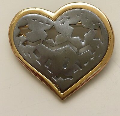 Vintage Signed Ultra Large Heart with stars Brooch In Pewter & Gold Tone Metal