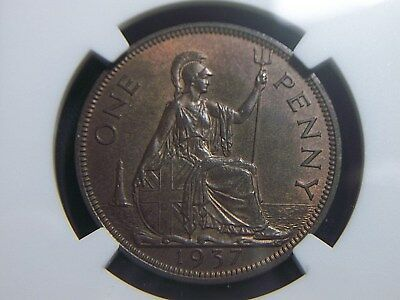 1937 Great Britain Penny NGC MS65