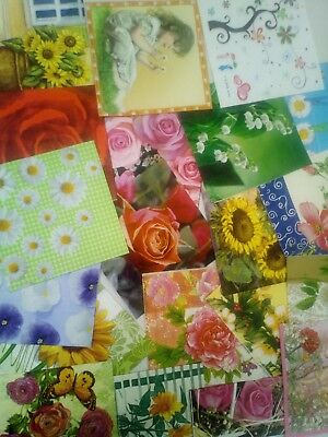 20 Different Paper Napkins Flower Mix for Decoupage, Crafts