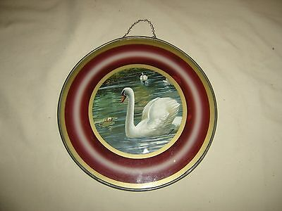 "Antique Swan & Water Lilies Flue Cover 9 1/2"" diameter 5"" picture  9565"
