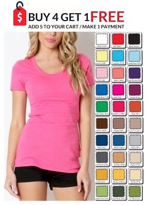 ZENANA Scoop T SHIRT Short Sleeve Long Length COTTON S/M/L/XL FREE SHIP USA