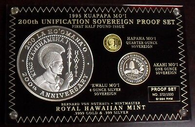 1995 Kuapapa Mo'i Kingdom of Hawaii Gold & Silver 3 Coin Proof Set Complete OGP
