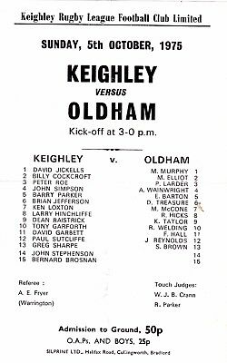 KEIGHLEY v OLDHAM  05OCT75 - Admission sheet