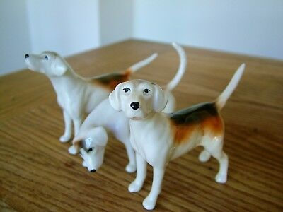 3 X Original Vintage  Beswick Fox Hunting Hound Dogs Up Down & Right No Reserve