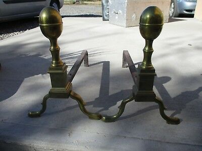 Vintage Antique Brass & Iron FIREPLACE ANDIRONS marked CPAY