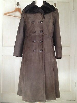 Genuine Vintage 70s REAL SUEDE COAT Faux Fur Lined Long S XS Small 8