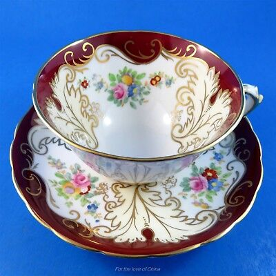 Pretty Burgundy Border with Floral Design Tuscan Tea Cup and Saucer Set