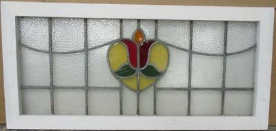 "LARGE OLD ENGLISH LEADED STAINED GLASS WINDOW Pretty Floral Heart 36.25"" x 14"""