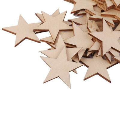 25 Pcs Natural Unfinished Blank Wood Wooden Stars Star DIY Decor Crafts
