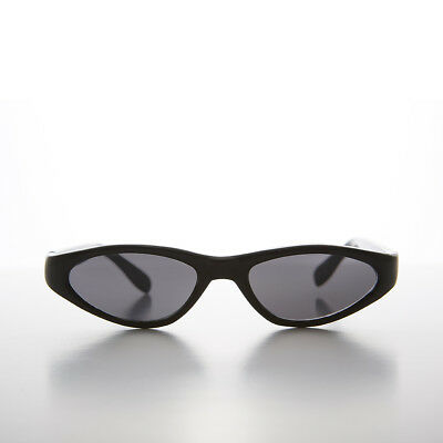 Edgy Small Cat Eye 90s Vintage Sunglass Black/Gray Lens - Vicky