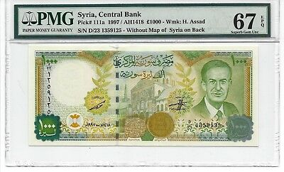 P-111a 1997 1000 Pounds, Syria Central Bank, PMG 67EPQ Superb Gem!