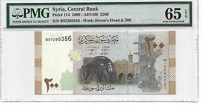 P-114 2009 200 Pounds, Syria Central Bank, PMG 65EPQ Gem
