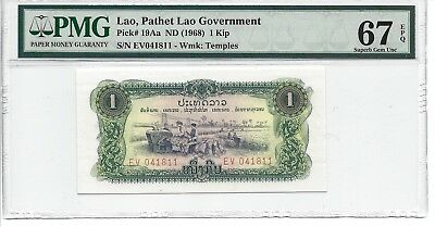 P-19Aa 1968 1 Kip Lao-Pathet Lao Government PMG 67EPQ SUPERB GEM