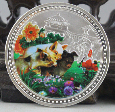 Chinese Zodiac Silver Colour Medal Coin--Year of the pig